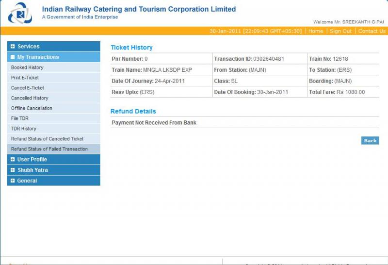 irctc ticket booking failed relationship