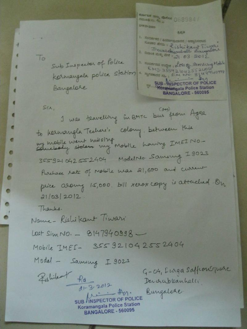My mobile was stolen on 21 03 2012-Bangalore City Police