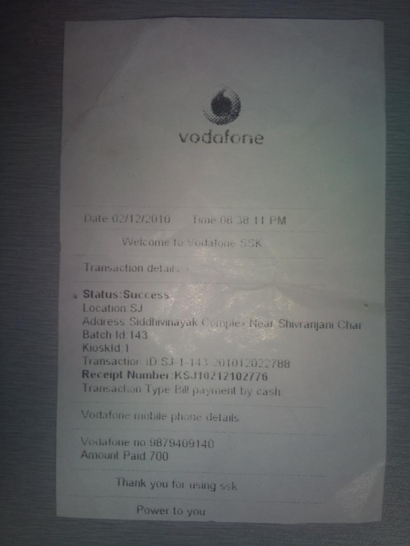 Vodafone Bill Payment Still Showing Ourstanding Vodafone